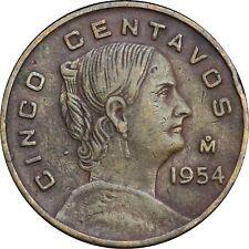 Mexico 5 Centavos Mo 1954 KM# 426. Dot. Scarce key date.