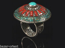 Traditioneller Tibetischer Türkis Ring tibetan turquoise ring neusilber  Nr.11