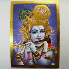 Altarbild Krishna, Prägedruck Indien Hinduismus  Bild Guru Om Puja 15