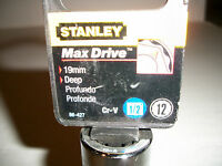 NEW STANLEY  1/2 in Drive Deep Socket    Metric     19mm