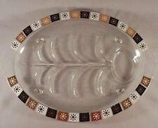 Inland Glass Oval Serving Platter Chop Plate Dish Meat Turkey Roast Starburst
