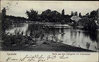 Stempel und Postkarte KARLSRUHE Bedarfspost alte AK 1905 Stadt Garten Teich