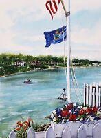 Sheerwatercolors Original Painting Ocean Beach Ogunquit Maine Coastal Decor