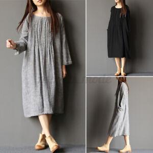UK Women Crewneck Pleated Long Sleeve Shirt Dress Casual Loose Midi Dresses Plus
