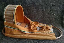 Native American handcrafted cradleboard Papoose woven cloth Cactus spine & Wood