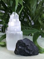1 Selenite 1 Black Tourmaline Home Protection Kit Reiki Chakra Wicca Stones.