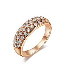 Band Classic Eternity 18K Rose Gold Plated Zirconia Rhinestones Ring J L M N O P
