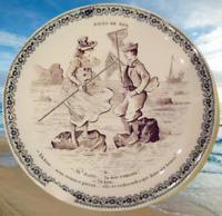 Ancienne assiette humour bain de mer ah ! Diable la mer remonte ! vintage