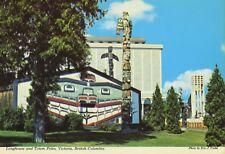 Longhouse & Totem Poles Victoria BC Royal Museum Indigenous History Postcard D20
