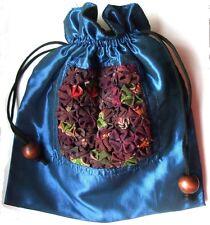 BLUMEN TASCHE Tunnelzugholzverschluß 19 x 24cm blau Handtasche Geschenktasche