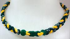 "New! 20"" Custom Clasp Braided Sports Yellow Green Tornado Necklace Twisted"