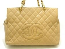 Auth CHANEL Beige Caviar Medallion Chain Tote Bag