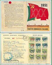 61009 - vintage document  TESSERA D'EPOCA - Partito COMUNISTA ITALIANO 1951