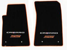 NEW! Black Carpet Floor Mats 2016-2018 Camaro Embroidered SS Double Logo Orange