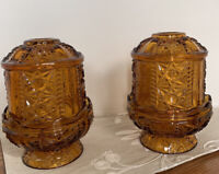 Pair Amber Glass Stars & Bars Fairy Lamps Tea Light Candle Holder Indiana Glass