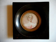 Miniature.Portrait d'une Jeune femme .Peinture a l'huile.Fin XVIII°.