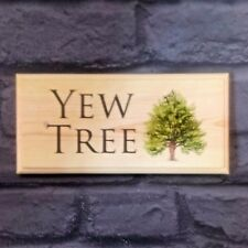Personalised Yew Tree Plaque / Sign / Gift - House Name Home Garden Shed Text