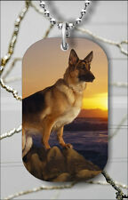 DOG GERMAN SHEPHERD BREED AT SUNSET DOG TAG PENDANT NECKLACE FREE CHAIN -ijk9Z