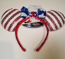 Minnie Mouse Ears Patriotic red white & blue Headband with sequins