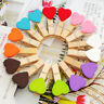 Mini Heart Wooden Pegs Photo Clips Wedding Party Room Decor Crafts 10/50 Pcs