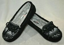 Minnetonka Britt Knit Plug Trapper Black Suede Women's Slipper-Size 6/7/8/10 NWB