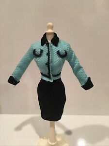 SUIT BARBIE DOLL BLUE AND BLACK COLLECTOR SKIRT JACKET
