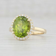 New 4.79ctw Peridot Diamond Halo Ring 14k Yellow Gold Size 6.5 Oval Solitaire