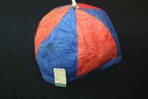 """DEADSTOCK 1930'S LITTLE RASCAL'S RED & BLUE FELT CAP 9 1/2"""" X 9 1/2"""" OPENING LG"""