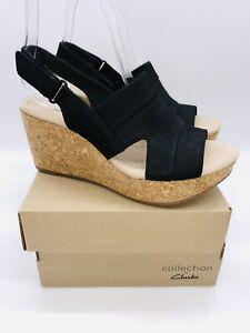 Clarks Women's Annadel Ivory Adjustable Wedge Sandals Black Nubuck , choose size