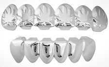 Platinum Silver Mouth Teeth Grills Grillz Upper & Lower Set New - Leaf