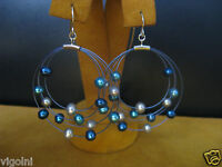 HONORA PEARL EARRINGS MULTI COLOR BLUE WHITE HOOP SS WIRE MOON Gift
