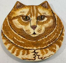 """Cats by Nina Lyman Orange Striped Tabby Cat Hand Painted Collector Plate 8"""""""