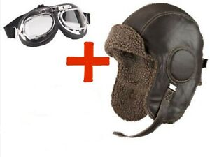 Biggles Leather Flying Helmet INC GOGGLES WW2 style Leather Bomber Aviator hat.