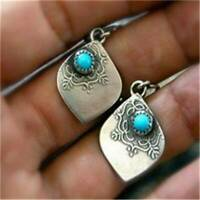 Vintage 925 Silver Dangle Earrings Retro Turquoise Leaf Ear Hook Women's Jewelry