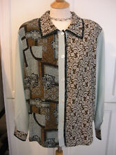 LOVE~! NWOT $88 KOOS OF COURSE Brown Aqua Blue Paisley Abstract Blouse Top 1X