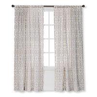"NEW Threshold One Window Panel Cream/White Flocked Scroll 54""x84"" Window Curtain"