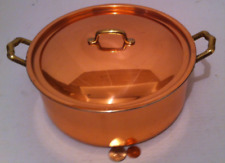 """Vintage Copper and Brass Cooking Pot, Pan, 9x4 Pot Size, 12"""" Wide, Copper"""