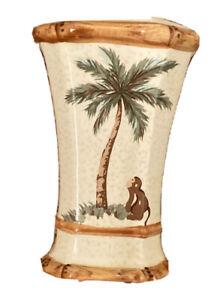 Springmaid Palm Tree Monkey Ceramic Toothbrush / Paste Holder Faux Bamboo Trim