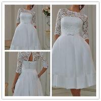 New White/Ivory Tea Length Short Vintage Lace Wedding Dress Size 6 8 10 12 14 16