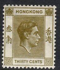 Hong Kong 1938 KGVI 30c Jaune-Olive - Sg 151. Sc 161 Monté Excellent État