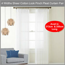 Sheer Pinch Pleat Curtain Pair Cotton Look Voile WHITE