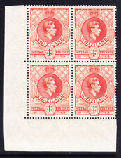 SWAZILAND GVI SG33 4d P131/2x13 B of 4 top stamps l/m others u/m c£56 as singles