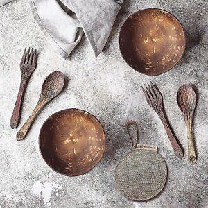 Coconut Bowl Set of 2 BONUS: Cleaning Sponge + 2 Wooden Spoons + 2 Wooden Forks
