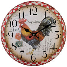 Vintage French Shabby Chic Chicken Hen Cockeral Wall Clock - NEW