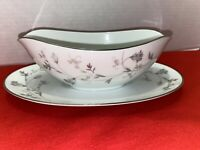"""Noritake China """"Valerie"""" Gravy Boat W/Attached underplate"""