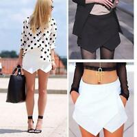 Sexy Womens Wrap Mini Skort Skirt Short Culottes Irregular Laminated Flanging XW
