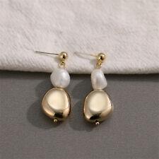 Natural Baroque Pearl Geometric Gold Plated Earrings Silver EarStud Wedding
