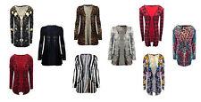 New Womens Ladies Printed Open Front Pocket Boyfriend Cardigan Long Sleeve Tops