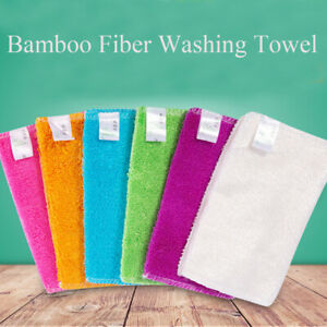 Bamboo Fiber Anti-grease Cleaning Rags Washing Towel Scouring Pad Dish Cloth