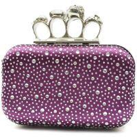 Damen Strass Abendtaschen Clutch Umhänge Tasche Handtasche Schlagring in Violett